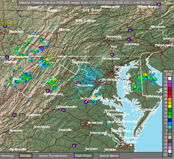 Radar Image for Severe Thunderstorms near Ellerslie, MD at 7/7/2020 4:52 PM EDT