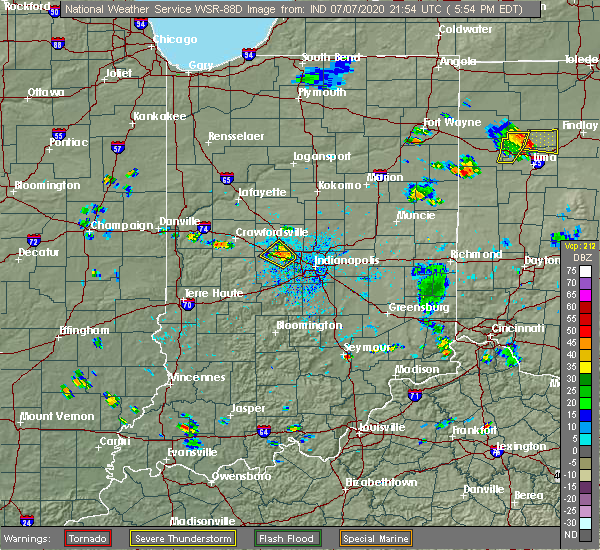 Radar Image for Severe Thunderstorms near Avon, IN at 7/7/2020 6:01 PM EDT