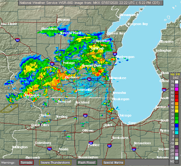 Radar Image for Severe Thunderstorms near Madison, WI at 7/7/2020 5:31 PM CDT