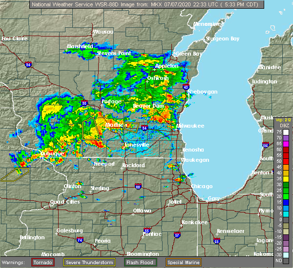 Radar Image for Severe Thunderstorms near Madison, WI at 7/7/2020 5:39 PM CDT