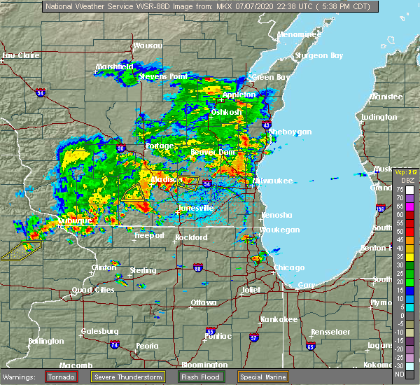 Radar Image for Severe Thunderstorms near Madison, WI at 7/7/2020 5:44 PM CDT