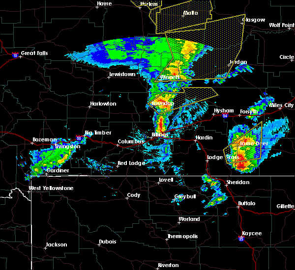 Radar Image for Severe Thunderstorms near Birney, MT at 7/7/2020 4:55 PM MDT