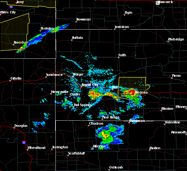 Radar Image for Severe Thunderstorms near Cottonwood, SD at 7/7/2020 6:46 PM MDT