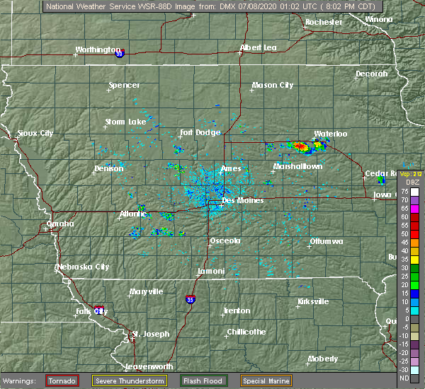 Radar Image for Severe Thunderstorms near Waterloo, IA at 7/7/2020 8:07 PM CDT