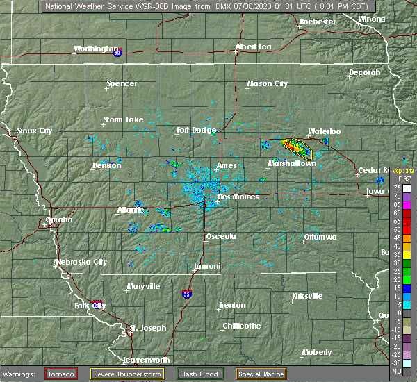 Radar Image for Severe Thunderstorms near Reinbeck, IA at 7/7/2020 8:34 PM CDT