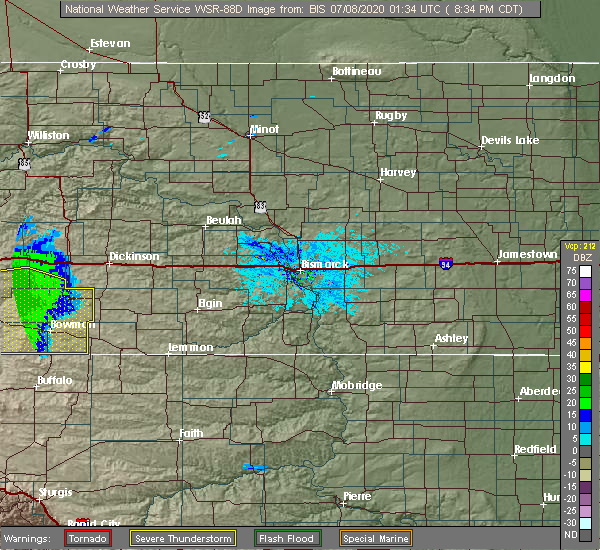 Radar Image for Severe Thunderstorms near Amidon, ND at 7/7/2020 7:36 PM MDT