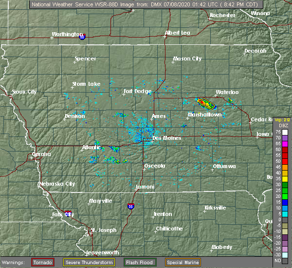 Radar Image for Severe Thunderstorms near Grundy Center, IA at 7/7/2020 8:45 PM CDT