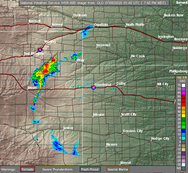 Radar Image for Severe Thunderstorms near Yuma, CO at 7/7/2020 7:52 PM MDT