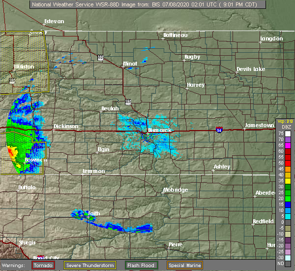 Radar Image for Severe Thunderstorms near Amidon, ND at 7/7/2020 8:03 PM MDT