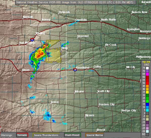 Radar Image for Severe Thunderstorms near Yuma, CO at 7/7/2020 8:07 PM MDT