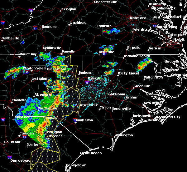 Radar Image for Severe Thunderstorms near Fayetteville, NC at 6/30/2015 6:42 PM EDT