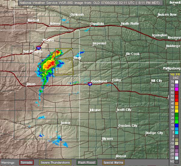 Radar Image for Severe Thunderstorms near Vernon, CO at 7/7/2020 8:15 PM MDT