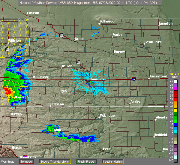 Radar Image for Severe Thunderstorms near Amidon, ND at 7/7/2020 8:15 PM MDT