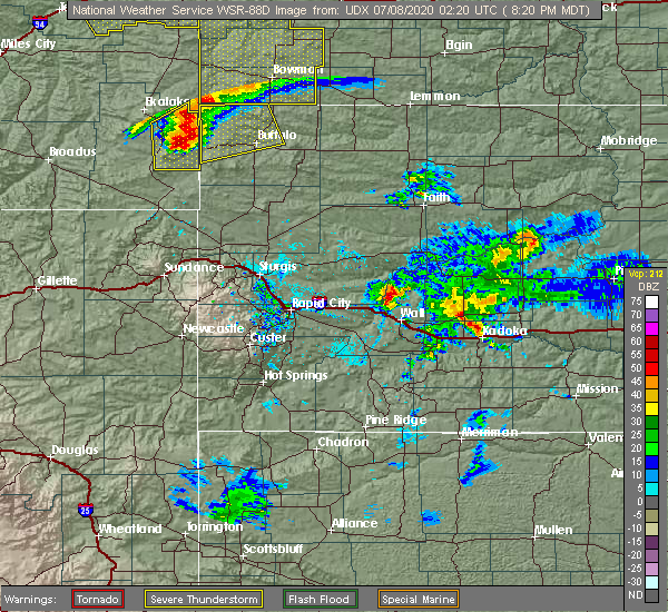 Radar Image for Severe Thunderstorms near Camp Crook, SD at 7/7/2020 8:23 PM MDT
