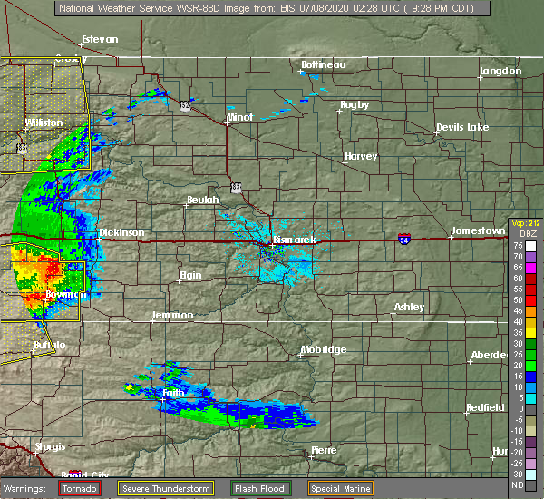 Radar Image for Severe Thunderstorms near South Heart, ND at 7/7/2020 8:32 PM MDT