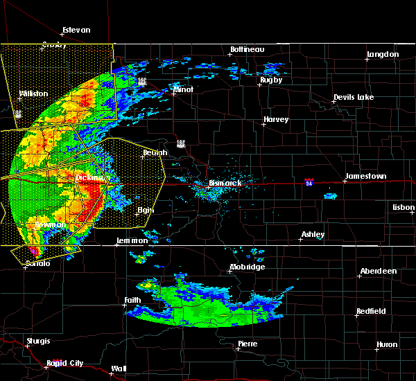 Radar Image for Severe Thunderstorms near Richardton, ND at 7/7/2020 9:22 PM MDT