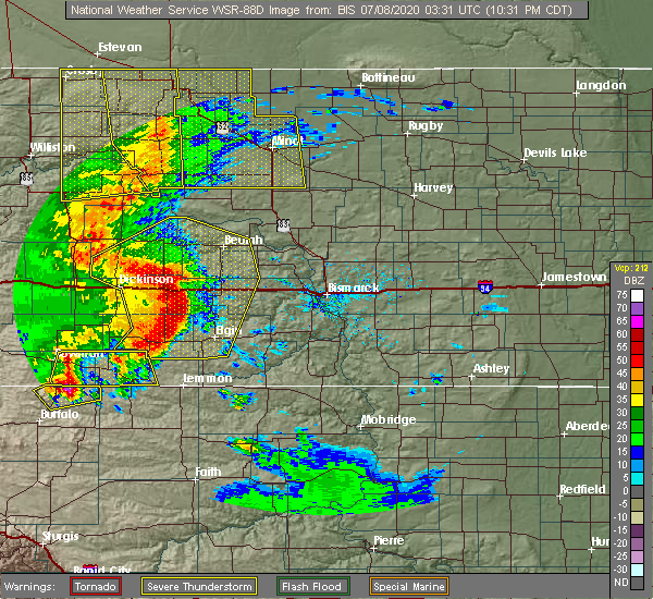 Radar Image for Severe Thunderstorms near Hebron, ND at 7/7/2020 10:37 PM CDT