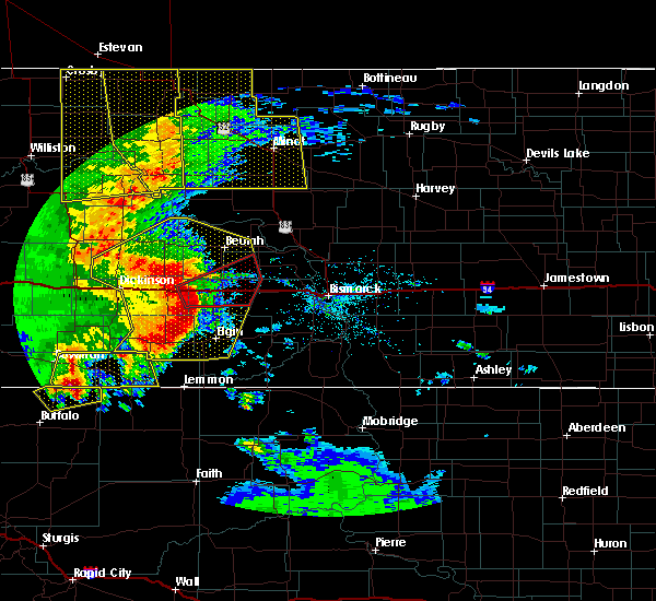 Radar Image for Severe Thunderstorms near Richardton, ND at 7/7/2020 9:42 PM MDT
