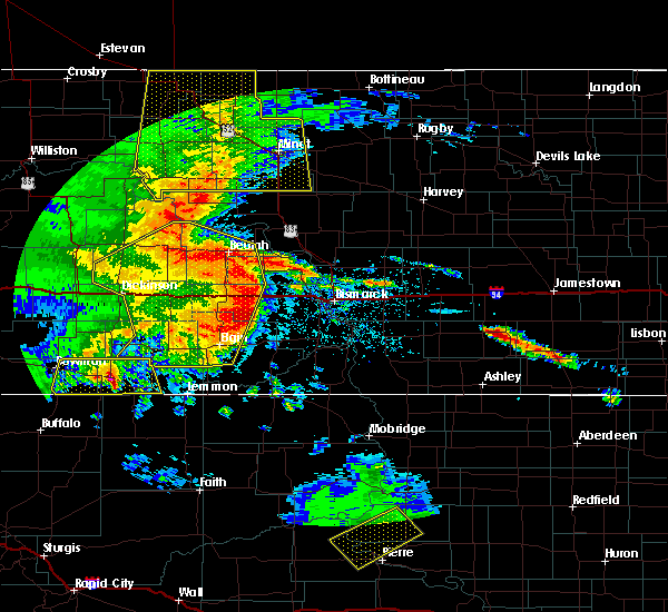 Radar Image for Severe Thunderstorms near Riverdale, ND at 7/7/2020 11:09 PM CDT