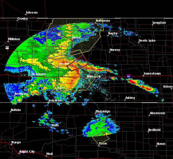 Radar Image for Severe Thunderstorms near Riverdale, ND at 7/7/2020 11:31 PM CDT