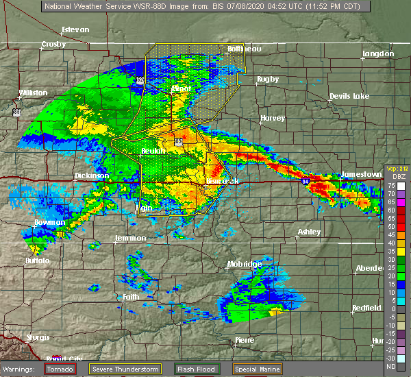 Radar Image for Severe Thunderstorms near Fessenden, ND at 7/7/2020 11:56 PM CDT