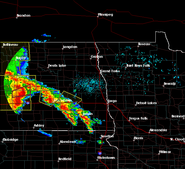 Radar Image for Severe Thunderstorms near Leal, ND at 7/8/2020 12:40 AM CDT