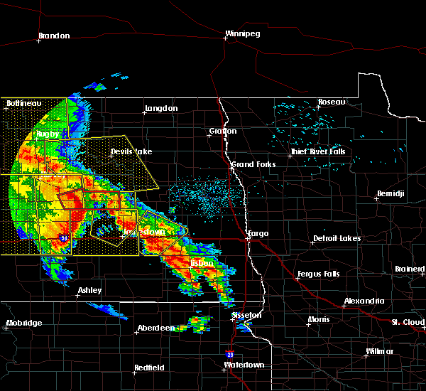 Radar Image for Severe Thunderstorms near Leal, ND at 7/8/2020 12:58 AM CDT