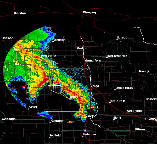 Radar Image for Severe Thunderstorms near McVille, ND at 7/8/2020 1:32 AM CDT