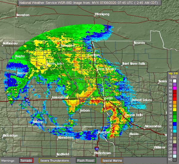 Radar Image for Severe Thunderstorms near Larimore, ND at 7/8/2020 2:54 AM CDT