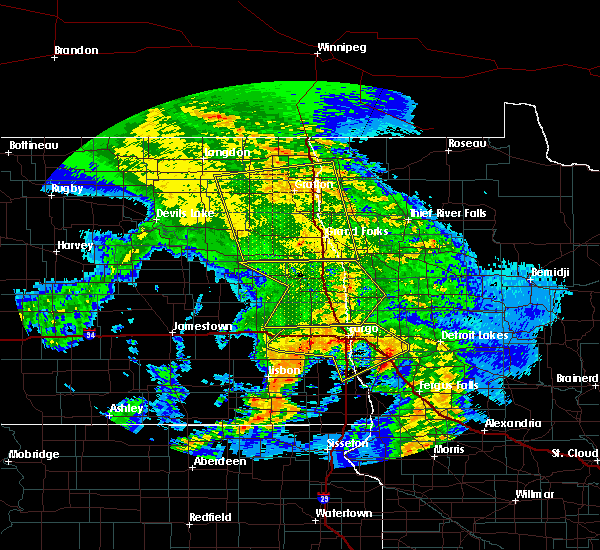 Radar Image for Severe Thunderstorms near Larimore, ND at 7/8/2020 3:14 AM CDT