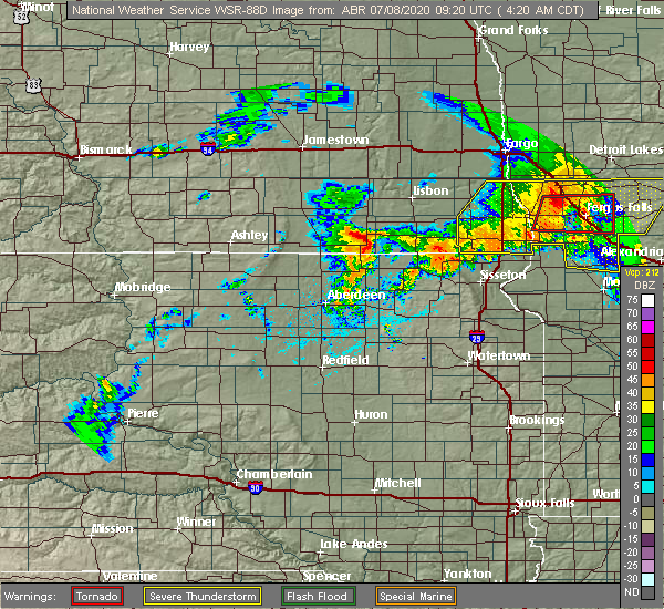 Radar Image for Severe Thunderstorms near Forman, ND at 7/8/2020 4:26 AM CDT