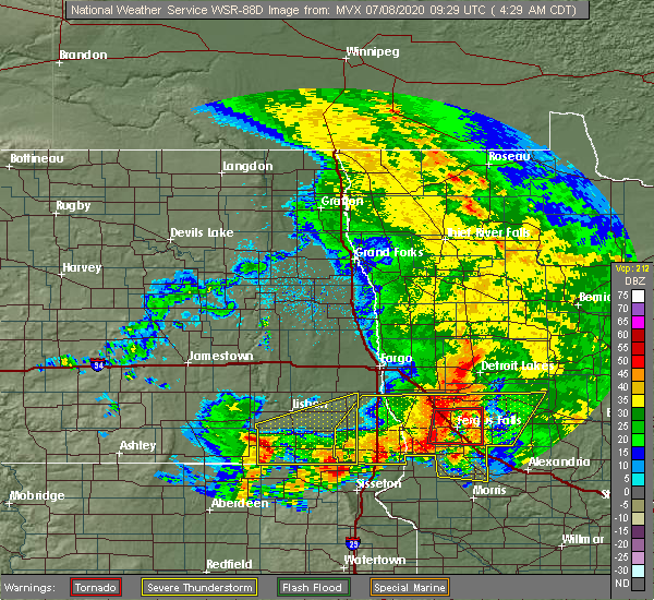 Radar Image for Severe Thunderstorms near Fergus Falls, MN at 7/8/2020 4:36 AM CDT