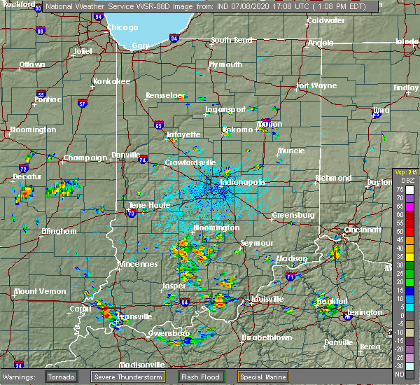 Radar Image for Severe Thunderstorms near Mitchell, IN at 7/8/2020 1:15 PM EDT