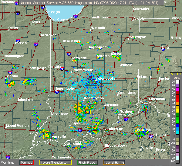 Radar Image for Severe Thunderstorms near Bedford, IN at 7/8/2020 1:25 PM EDT