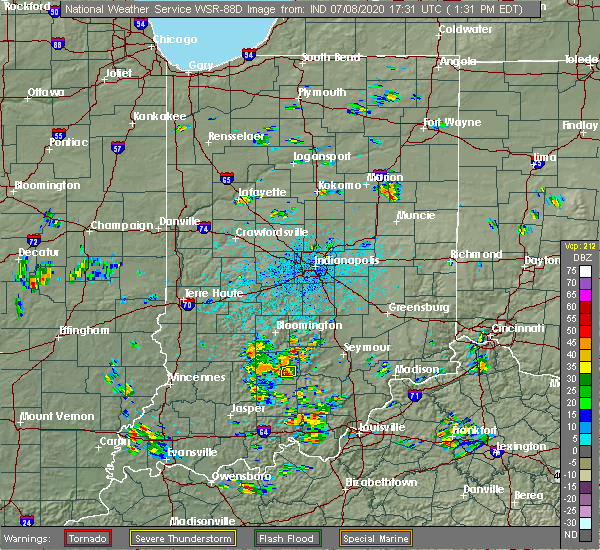 Radar Image for Severe Thunderstorms near Bedford, IN at 7/8/2020 1:38 PM EDT