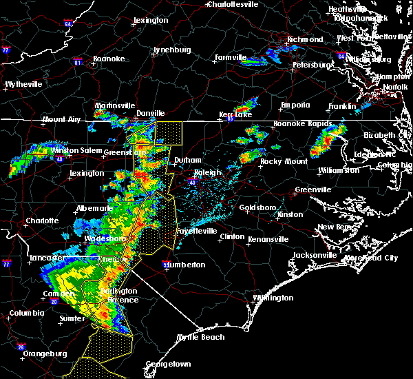 Radar Image for Severe Thunderstorms near Fayetteville, NC at 6/30/2015 6:55 PM EDT