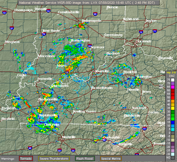 Radar Image for Severe Thunderstorms near English, IN at 7/8/2020 2:54 PM EDT