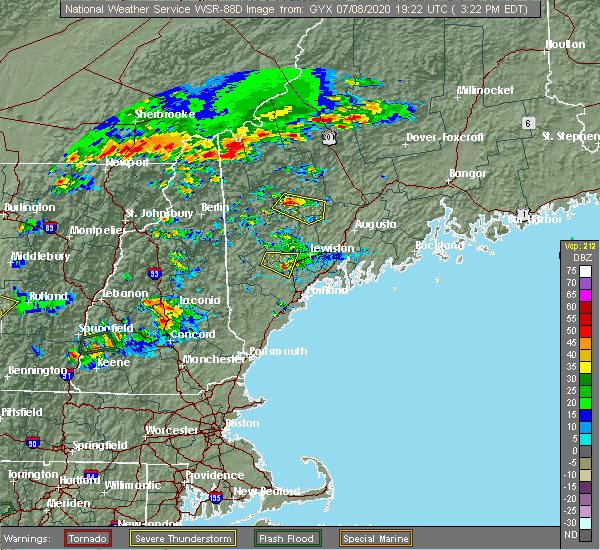 Radar Image for Severe Thunderstorms near Gray, ME at 7/8/2020 3:28 PM EDT