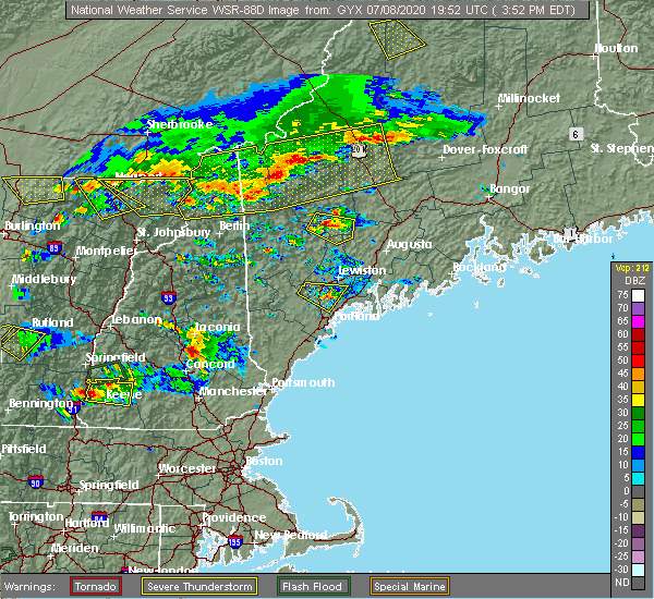 Radar Image for Severe Thunderstorms near Gray, ME at 7/8/2020 3:57 PM EDT