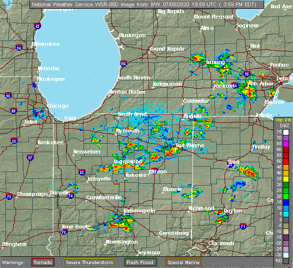 Radar Image for Severe Thunderstorms near Fort Wayne, IN at 7/8/2020 4:04 PM EDT
