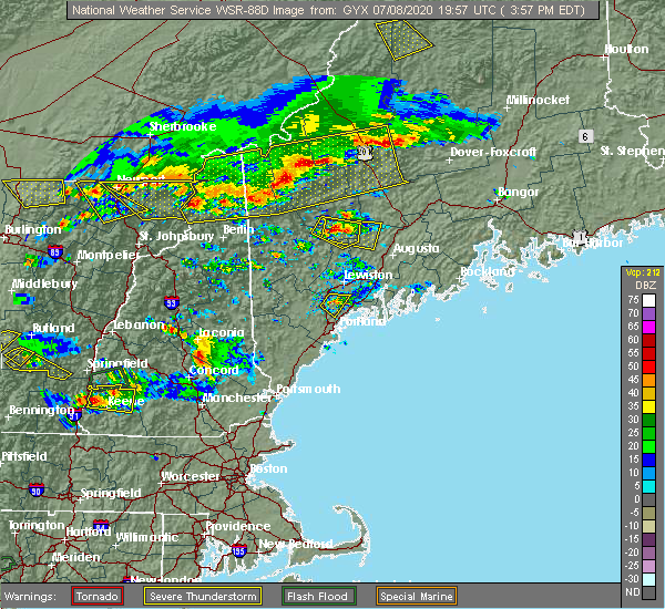 Radar Image for Severe Thunderstorms near Guilford, ME at 7/8/2020 4:04 PM EDT