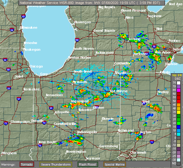 Radar Image for Severe Thunderstorms near Fort Wayne, IN at 7/8/2020 4:05 PM EDT