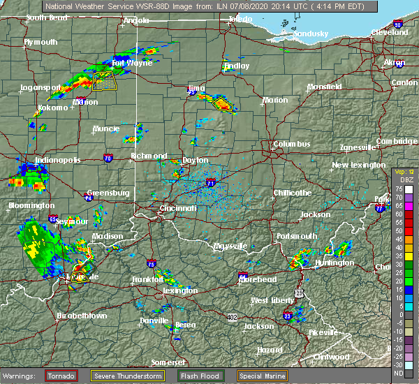 Radar Image for Severe Thunderstorms near Kenton, OH at 7/8/2020 4:17 PM EDT