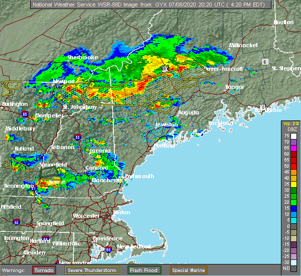 Radar Image for Severe Thunderstorms near Guilford, ME at 7/8/2020 4:25 PM EDT