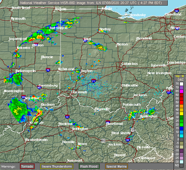 Radar Image for Severe Thunderstorms near Kenton, OH at 7/8/2020 4:29 PM EDT