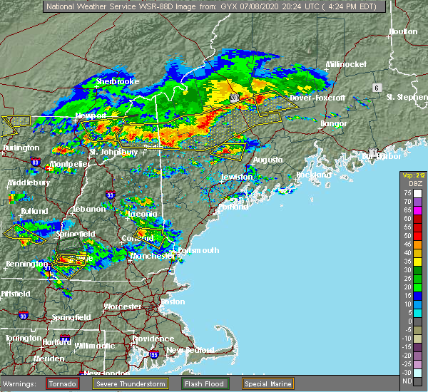 Radar Image for Severe Thunderstorms near Milton, NH at 7/8/2020 4:30 PM EDT