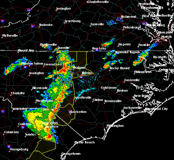 Radar Image for Severe Thunderstorms near Zebulon, NC at 6/30/2015 7:05 PM EDT