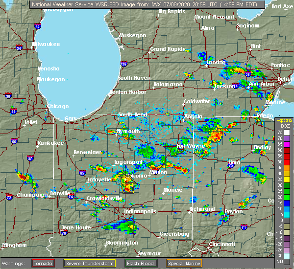 Radar Image for Severe Thunderstorms near Geneva, IN at 7/8/2020 5:05 PM EDT