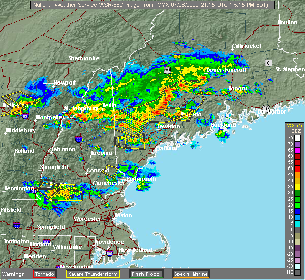 Radar Image for Severe Thunderstorms near Steep Falls, ME at 7/8/2020 5:16 PM EDT