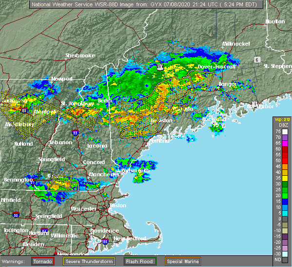Radar Image for Severe Thunderstorms near Hartland, ME at 7/8/2020 5:30 PM EDT